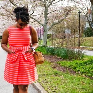 Kate Spade striped pink dress 12
